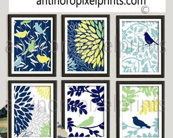 Yello Navy Blue Green Bird Floral Modern inspired Art Pictures Collection -Set includes (6) - 8x10 Prints  - (UNFRAMED)