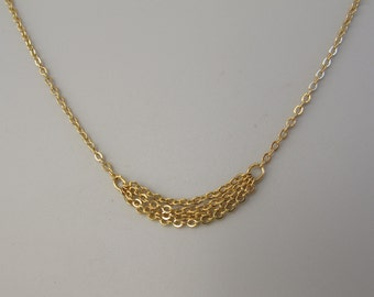 tiny chains  pendant necklace,    gold chains pendant, Endless necklace fully handmade
