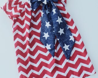 Custom Boutique Patriotic Red Chevron Peasant Dress