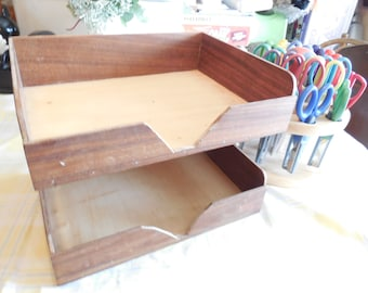 SALE/Vintage Wooden Double Paper Tray In Box Desk Organizer Letter Sized / Sale see store heading for 30% Off/:)S