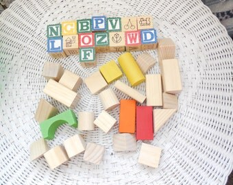 Wooden Blocks, Group of Wooden Blocks, Preschool Toys, Building Toys, Crafts, Use for Prop,   :)s*