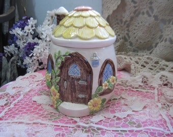 Sweet Darling Little Round Cottage House Canister Jar :)
