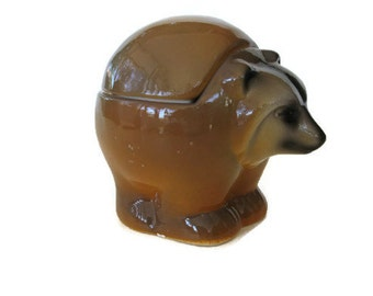 Sale Vintage Figurine  Cute Ceramic Woodland Animal, Trinket Box the Coatimundi