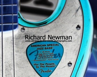 Musical instrument, guitar, jazz base in blue and grey, 11 x 14 photograph
