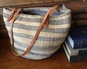 Vintage Handcrafted Straw Raffia Gray & Tan Leather Handbag Tote Large