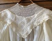 Antique Victorian Edwardian White Cotton & Lace Girls Childs Summer Day Dress
