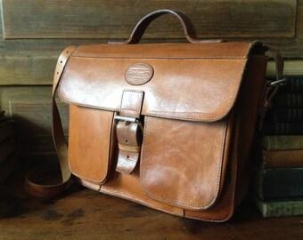 1970s Brown Leather Handbag Saddlebag Mini Briefcase Belted Buckle Artisan Leather