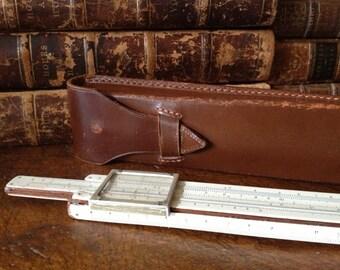Vintage England P & G Thornton Wood Slide Ruler // Leather Case