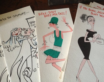 1960s Greeting Cards Box Set, Mid Century Cartoon Humor Cards, New Old Stock