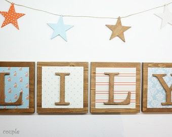 Nursery letters + Banner set of 4 Stars,Alphabet Wood Letters,Personalized wooden letters,Rustic-Shabby wood letters,Custom Nursery letters