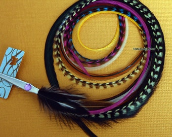 Bohemian Feather Hair Accessory Boho Hair Clip Long Hair Feather Barrette Mustard Pink Turquoise