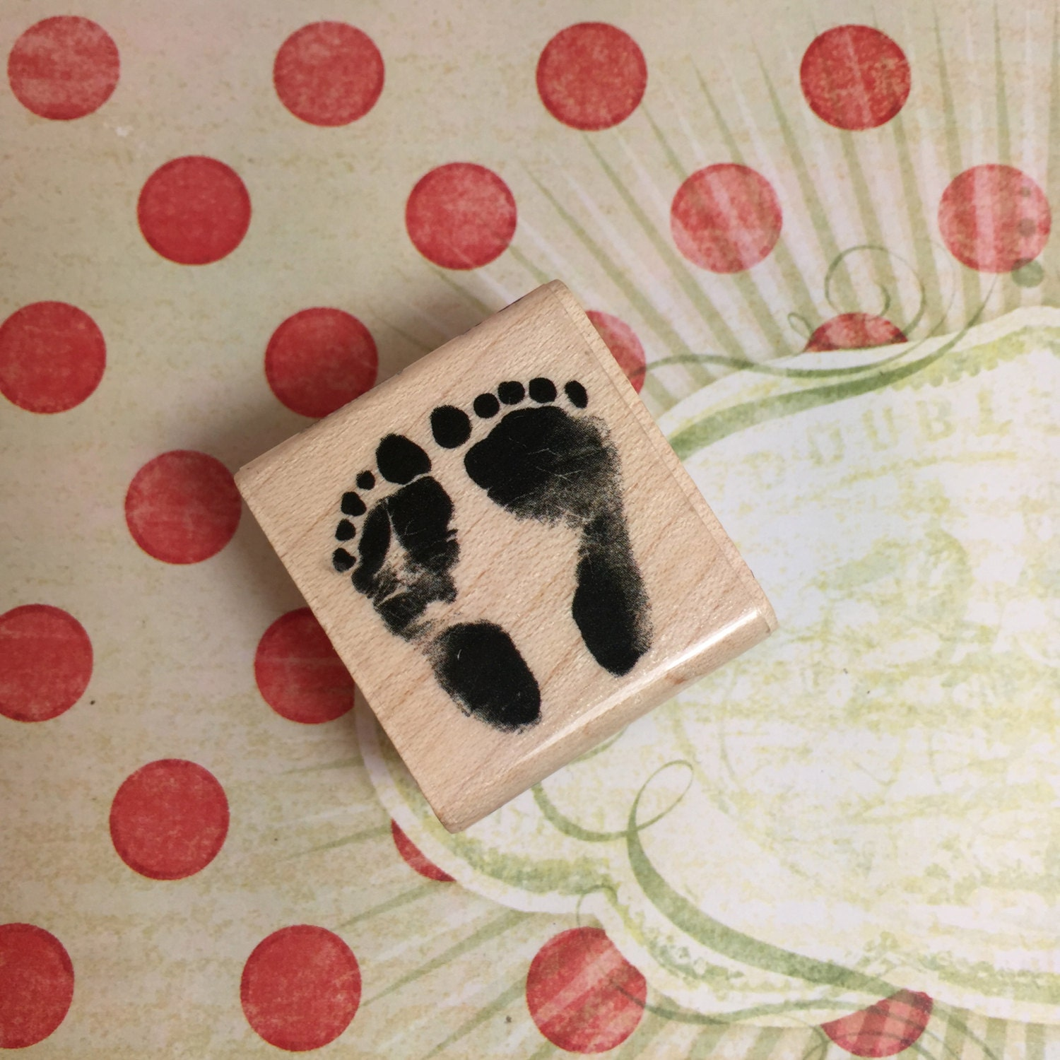 mini baby feet stamp rubber stamp mini baby feet by. Black Bedroom Furniture Sets. Home Design Ideas