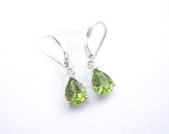 Natural Gemstone Faceted Peridot 7 x 9mm Pear or Teardrop Shape 925 Sterling Silver Lever Back or Post Earrings
