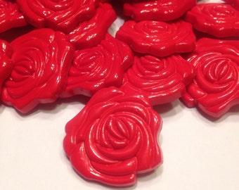 4 large red rose acrylic shank buttons, 25 mm (24)