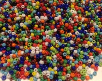 15-20 g bag of rainbow color glass seed bead mix, 10/0 (SB3)