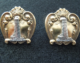 Vintage Lighthouse Earrings, Gold and Silver Toned, Post Style for Pierced Ears.