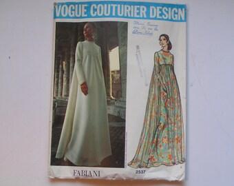 Vintage Vogue Couturier  Pattern Fabiani  2537 Miss Evening Dress Size 10