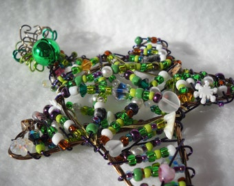 black Friday cyber monday  Christmas ornament star beaded Victorian Christmas tree beads wire sun catcher window decoration beaded Christmas