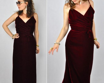 50s Maxi Dress Red VELVET Dress Wiggle Dress 50s Spaghetti Straps Fitted Waist Cocktail Dress Party Elegant Sophisticated size S - M