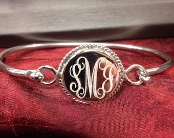 Sterling Silver Monogram Bracelet Round with Rope Edge