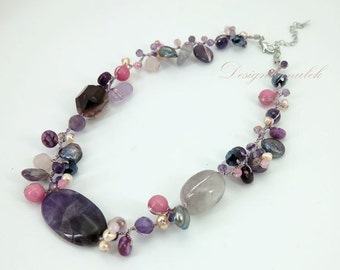 Purple amethyst,freshwater pearl on silk necklace.