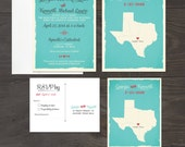 Texas USA - customize with your state- Wedding Invitation RSVP Set Turquoise Teal blue wedding invitation Destination wedding invitation