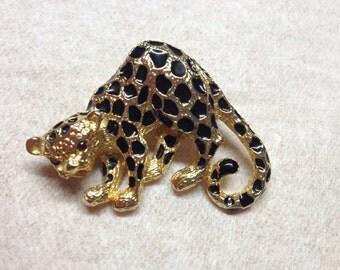 Vintage Costume Goldtone Signed Park Lane Cheetah with Black Enameled Spots Design Pin/Brooch