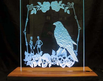 "Edge lit carved and etched glass panel  with 1"" bevel  in a hand made hard wood base with the ""Day of the Dead"" theme by Lark Abel"