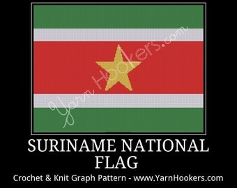 Suriname National Flag - Afghan Crochet Graph Pattern Chart - Instant Download