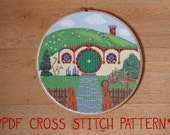 Hobbit Hole Bag End cross stitch sampler pattern