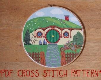 Hobbit Hole Bag End cross stitch sampler pattern