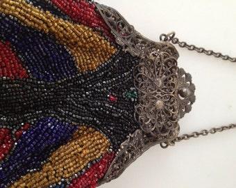 Antique BEADED Bag Beaded Purse FILIGREE Frame Edwardian Beaded Handbag Openwork Art Deco Beaded Bag FLAPPER Bag Vibrant Colors