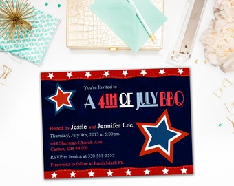 Invitations / Fourth of July, 4th of July, Independence Day / Party, BBQ, Barbecue / Red, White, Blue, Stars / Digital or Printed Cards