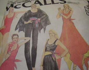 Vintage 1970's McCall's 6577 Disco Style Bodysuit, Pants, Skirt and Cover-up Sewing Pattern, Size Medium, Bust 36-38