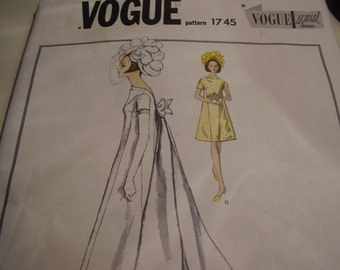 Vintage 1960's Vogue 1745 Special Design Wedding Gown or Bridesmaids' Dress Sewing Pattern, Size 10, Bust 31