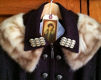 Adeline-Brown Tweed Knit Double Breasted Coat with Satiny Fringe, Fur Collar, Vintage Pearl Collar Bars, Ornate Buttons, Chain Back