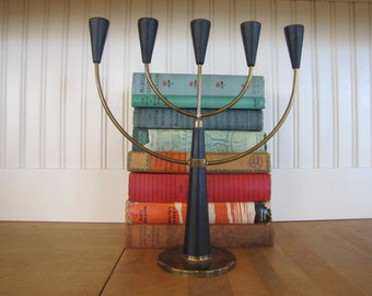 1960's Swedish Candelabra, Candelabra, Candle Holder, Sweden, Swedish, 1960's, Brass, Wood, Black Gunnar Ander Style, Danish Modern