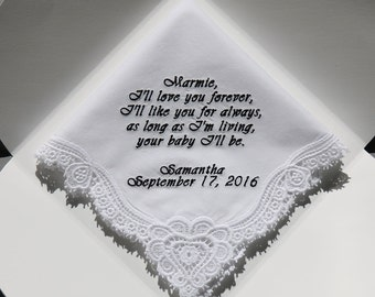 Personalized Wedding Handkerchiefs Embroidered to Mother of Bride (Monogram / Custom)