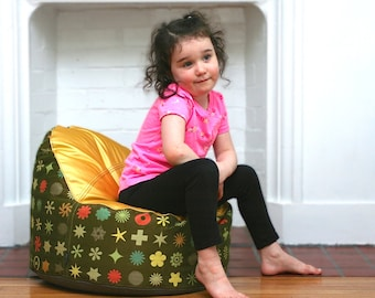 modern kids bean bag chair cover - gold seat