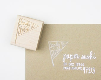Kindly Deliver To Pennant Stamp - kindly deliver to - snail mail stamp - rubber stamp - addressing - pennant stamp - ready to ship - K0036
