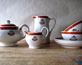 Vintage Restaurant Ware, Coffee Set, Vintage Tea Pot, Coffee Cups, Camargo Golf Club, Country Club, Diner Ware, Vintage Beverage Set