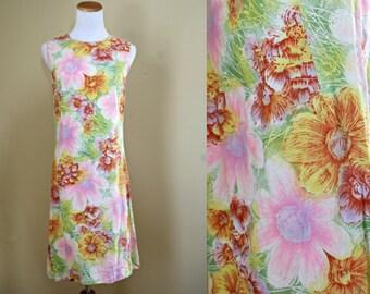 1960's Beach Party Dress - XS Sm 60's Shift Dress - Tropical Print