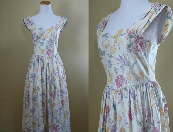 1980 S Garden Party Dress Laura Ashley Fit And Flare