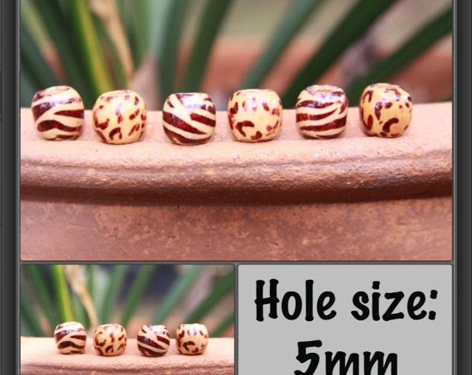 16 mini Zebra Leopard Wooden DREADLOCK Beads Hair Beads 11mm (5mm hole) NEW & Free Tibetan Bead