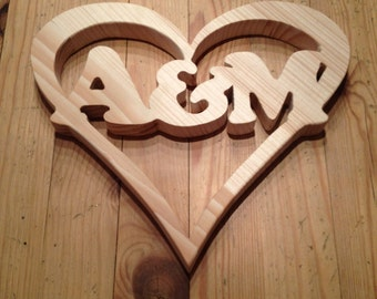 Wooden heart with initials