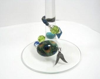 4 Piece Set Wine Glass Charms - Beaded Wine Glass Stem Charms - Wine Glass Stem Wraps, Set of 4