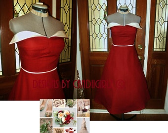 1950s Insp Cranberry & White CLEARANCE SAMPLE Linen winged petal bust style Flared skirt Bridal Wedding evening Bridesmaid Dress  Small