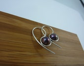 sterling silver and purple freshwater pearl earrings
