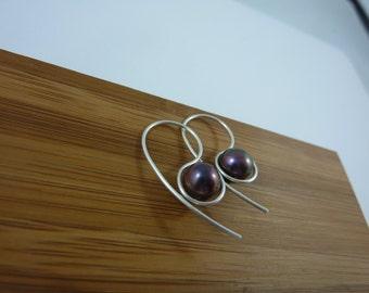 sterling silver and purple freshwater pearl earrings