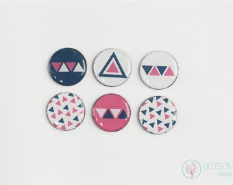 Set of 6 Magnets. Geometric Fridge Magnets.